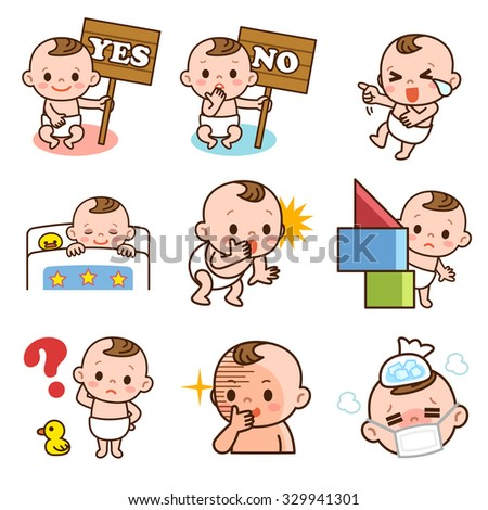 Pause of more than one baby - stock vector