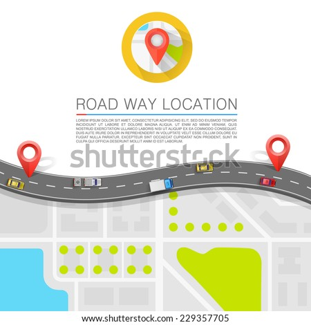 Paved path on the road. banner road. Vector background - stock vector