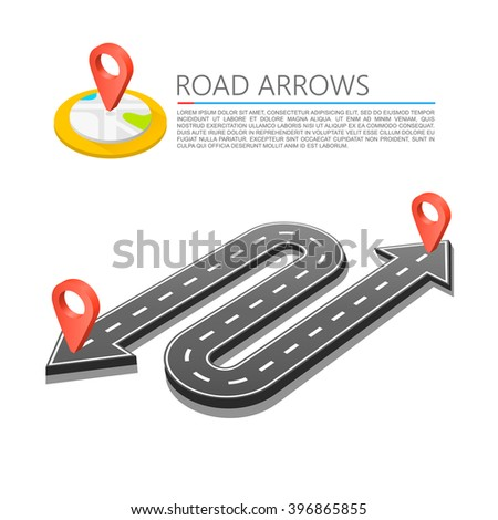 Paved path on the road, Road arrow location, Vector background - stock vector