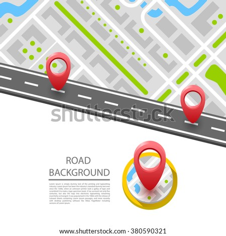 Paved path on the road, road in direction to side. Vector background