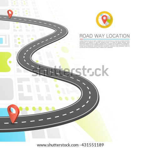 Paved path on the road, Road point location, Vector background - stock vector