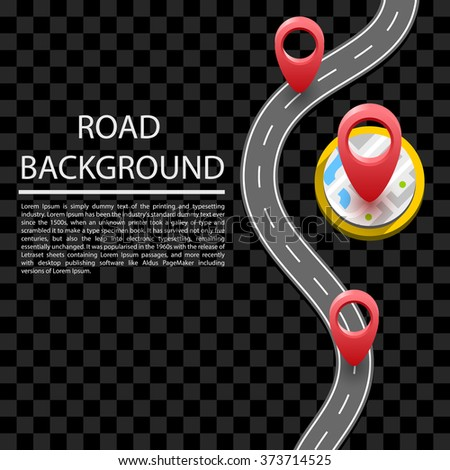 Paved path on the road, wavy road, curved road, red markers, text. Vector background