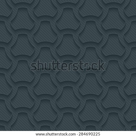 Pavement dark perforated paper with outline extrude effect. 3d seamless background. See others in My Perforated Paper Sets. - stock vector