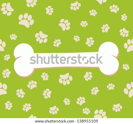 paw and bone. vector background footprints - stock vector