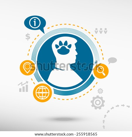 Paw and male avatar profile picture. Flat design vector illustration concept for reaching goals.  - stock vector