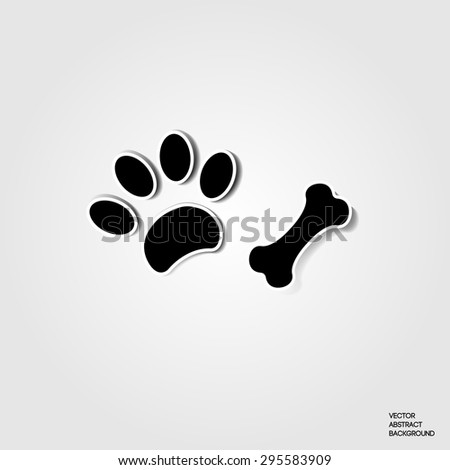 Paw dog. print dog. Bone. Dog paw. Animal. Shadow, silhouette - stock vector