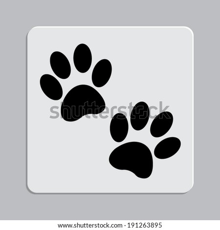 paw icon on a grey flat button - stock vector