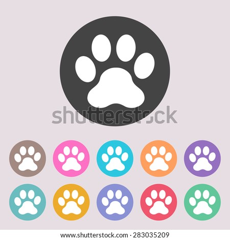 Paw icon. Set of colored icons. - stock vector