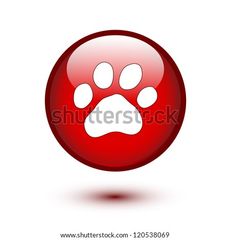 Paw on red glossy button - stock vector