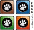 paw print colored web buttons - stock vector