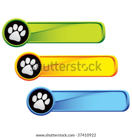 paw print icon on colored tabs - stock vector