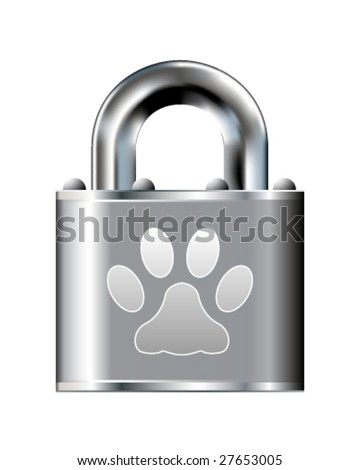 Paw print icon on stainless steel padlock vector button - stock vector