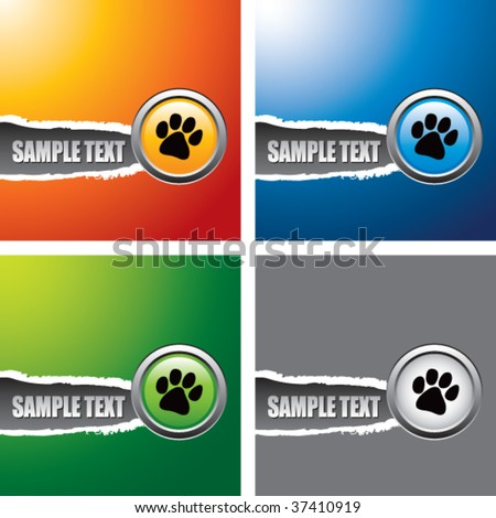 paw print multicolored ripped banners - stock vector