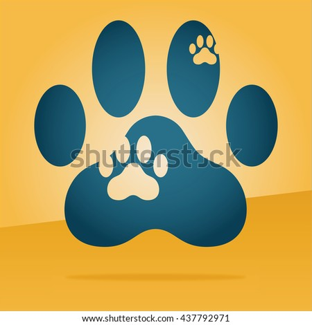 paw print of a cat floating in the air - stock vector