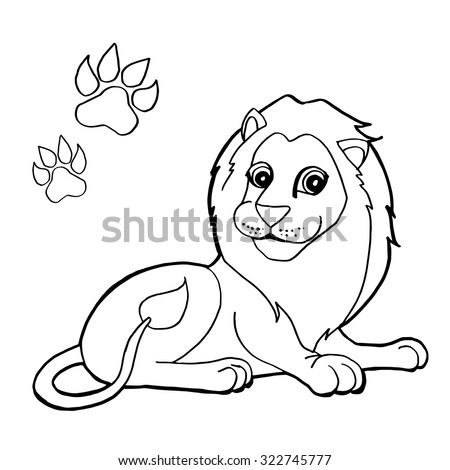 Paw Print With Lion Coloring Pages Vector