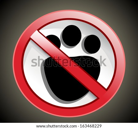 paw print with not allowed symbol - no pets allowed - stock vector