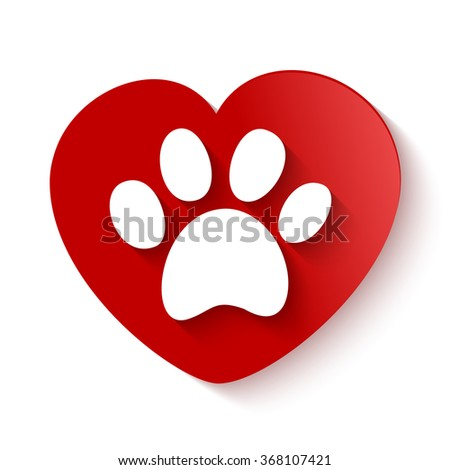 paw print with shadow over heart shaped background - stock vector