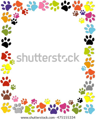 Paw Prints Colorful Frame Vector Illustration Stock Vector 475155334 ...