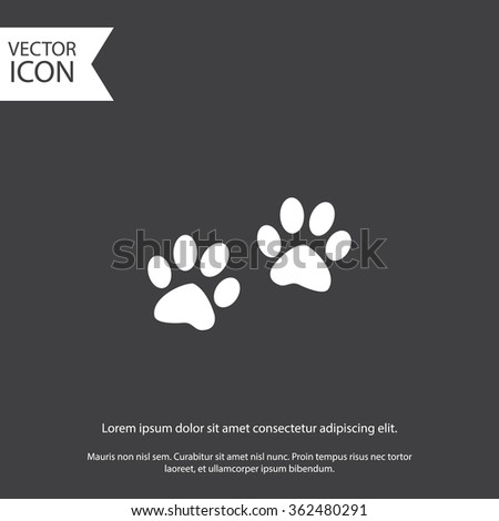 Paw sign icon. Dog pets steps symbol - stock vector