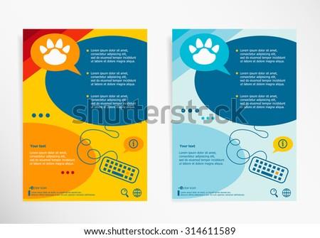 Paw symbol on abstract vector modern flyer, brochure vector template. - stock vector