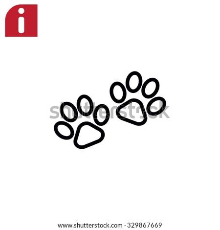 paw, web icon - stock vector
