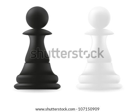 pawn chess piece black and white vector illustration - stock vector