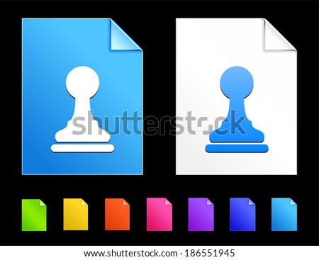 Pawn Icons on Colorful Paper Document Collection - stock vector