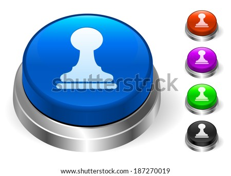 Pawn Icons on Round Button Collection - stock vector
