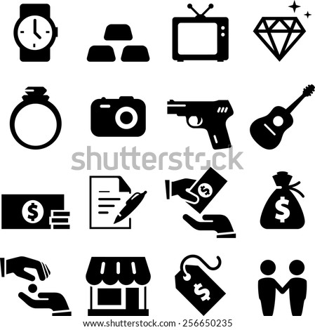 Pawnbroker icon set. Vector icons for digital and print projects. - stock vector