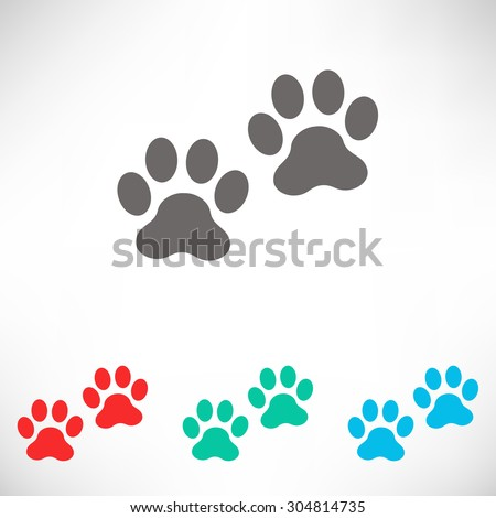 Paws icon. Set of varicolored icons. - stock vector