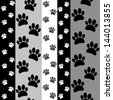 paws seamless pattern black, grey, white - stock vector