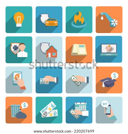 Pay bill on-line transactions and shopping icons flat set isolated vector illustration - stock vector