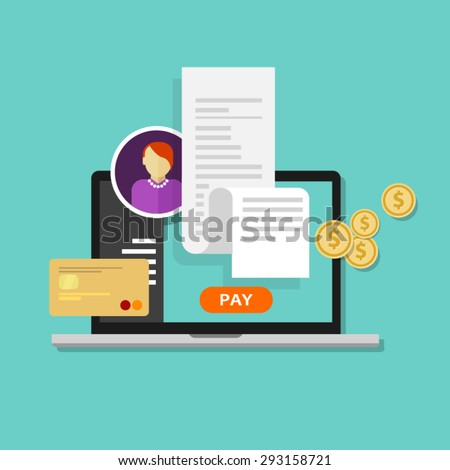 pay bills tax online receipt via computer or laptop - stock vector