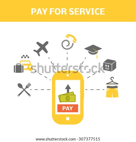 Pay for service concept. Internet shopping picture. Vector illustration of smart phone and types of payments. - stock vector