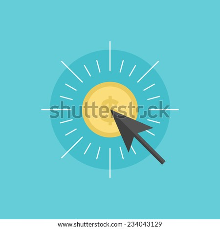 Pay per click advertising model, internet marketing commercial service, online commerce technology. Flat icon modern design style vector illustration concept. - stock vector