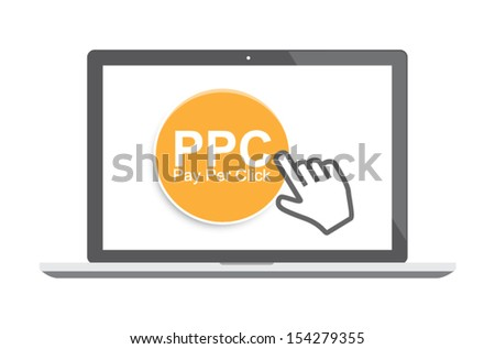 Pay per click concept with laptop and cursor - stock vector