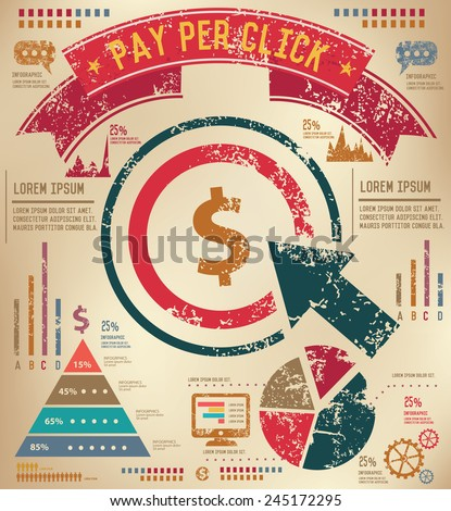 Pay per click design on old paper background,info graphic,grunge vector - stock vector