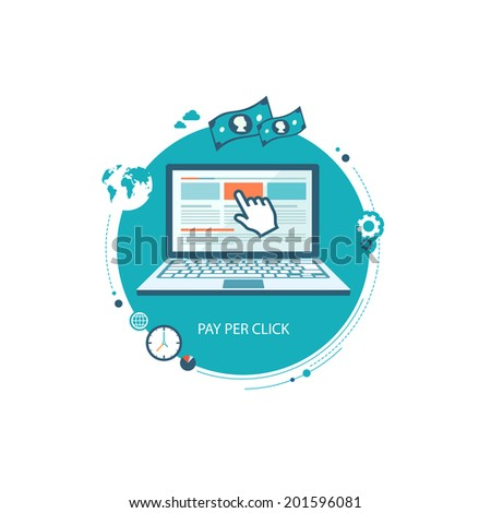 Pay per click flat illustration with laptop and pointer. eps8 - stock vector