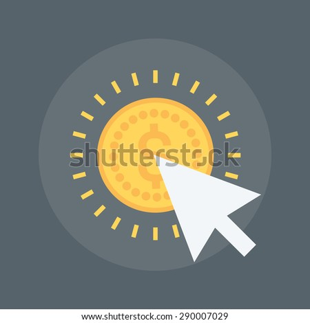 Pay Per Click flat style, colorful, vector icon for info graphics, websites, mobile and print media. - stock vector