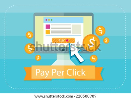 Pay per click internet advertising model when the ad is clicked. Monitor with button buy modern flat design cartoon style - stock vector