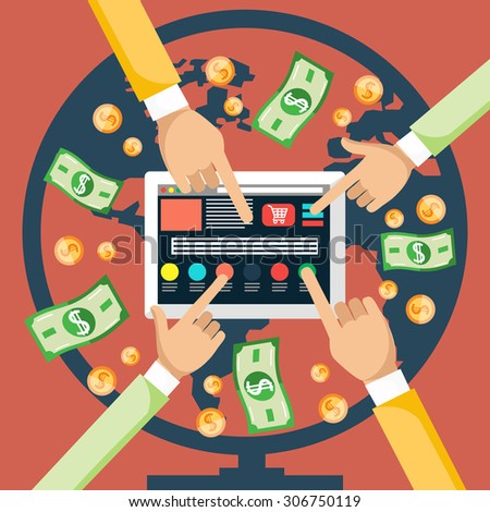 Pay per click internet advertising model when the ad is clicked. Monitor with button buy modern flat design cartoon style. Hands pushing a button on the monitor - stock vector