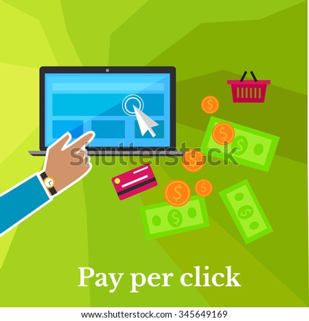 Pay per click internet advertising model when the ad is clicked poster. Modern flat design. Ppc, search engine marketing, online advertising, social media, click, sem. Hand click on monitor - stock vector