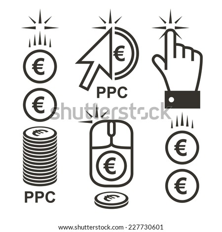 Pay per click Internet advertising with euro signs. Conceptual euro PPC logo vector illustration made with cursor arrow and coin icons. - stock vector