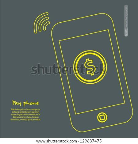 Pay phone. Vector. - stock vector