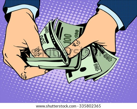Payback cash in hand pop art retro style - stock vector