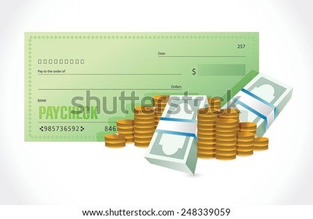 paycheck and money illustration design over a white background - stock vector