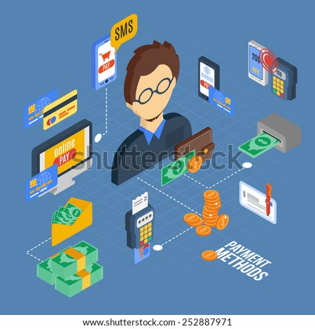 Payment isometric set with banking cash money financial 3d icons vector illustration - stock vector