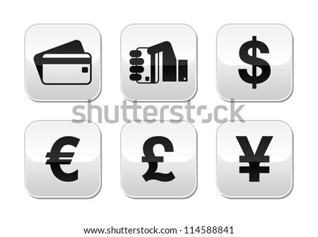 Payment methods buttons set - credit card, by cash - currency - stock vector