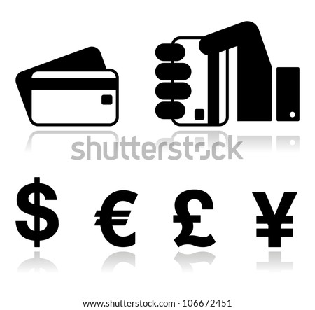 Payment methods icons set - credit card, by cash - currency, hand holding card. - stock vector