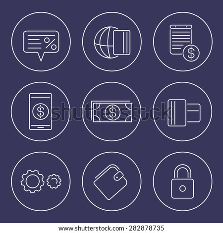 Payment methods, types line icons in circles, vector illustration, eps10, easy to edit - stock vector